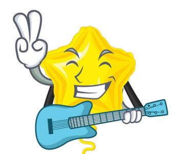 כוכב מנגן בגיטרה - מצוייר